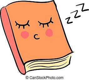 Libro durmiente, ilustración, vector de fondo blanco.
