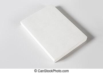 Libro en blanco cerrado aislado en gris