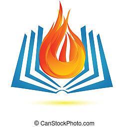 Libro en logo de fuego