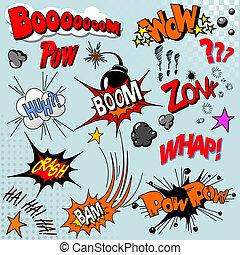 libro, explosión, cómico