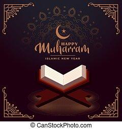 libro, feliz, muharram, santo, quraan, plano de fondo