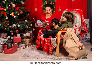 libro, hijo, ella, lectura, christmas de madre