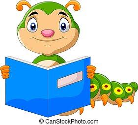 libro, lectura, lindo, oruga, caricatura