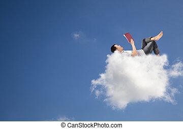libro, lectura, nube, relajar