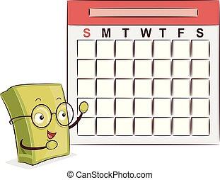 libro, mascota, calendario, ilustración