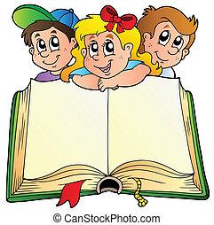 libro, niños, abierto, tres