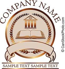 libro, o, columnata, sello, -, oro, abogado, ley