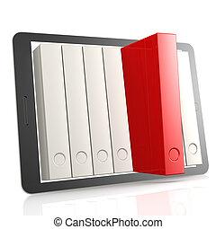 libro, rojo, tableta
