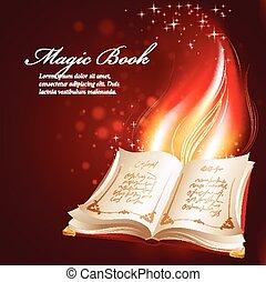 libro, vector, mágico, ilustración