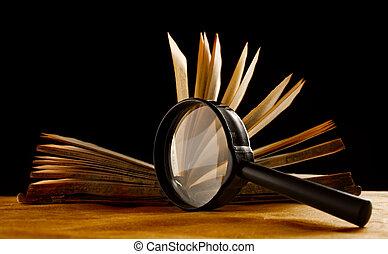 libro, vidrio, aumentar