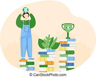 libros, ambiente, hands., pequeño, tipo, globo, posición, el suyo, toma, hombre, cuidado, pila