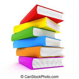Libros arco iris sobre blanco