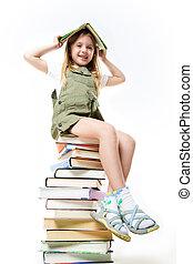 libros, colegiala