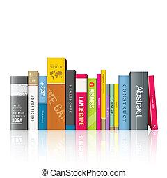 libros, colorido, fila