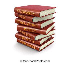 libros, conformidad, reglas, pila