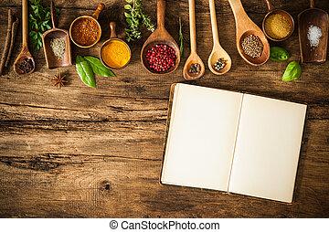 Libros de cocina en blanco y especias