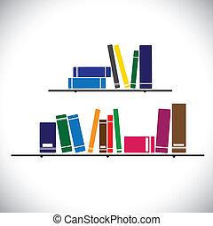 Libros de colección de colores en un estante de la biblioteca. Estudiar vector de conceptos. El gráfico contiene libros de diferentes tamaños y colores apilados
