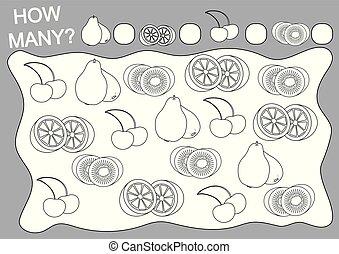 Libros de color y juego educativo cuántos frutos para niños. Ilustración de vectores.