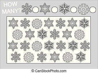 Libros de color y juegos educativos cuántos copos de nieve para niños. Ilustración de vectores.