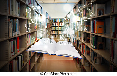 Libros de educación de biblioteca flotando en el ingenio