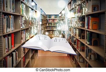 Libros de educación de bibliotecas flotando con letras