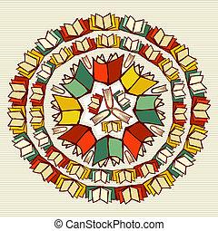 Libros de educación de vuelta a la escuela mandala.