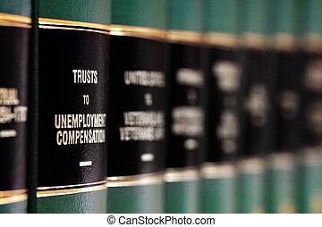 Libros de leyes en estantes con etiquetas para el aprendizaje legal