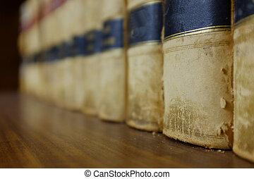 Libros de leyes en la biblioteca con propiedades legales