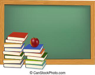 Libros escolares sobre el escritorio. Vector.