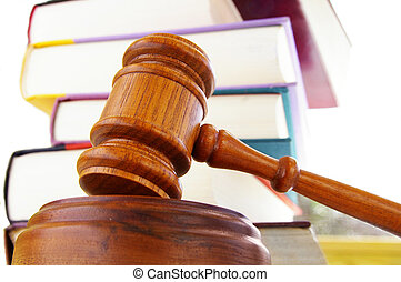 libros, martillo, blanco, ley, legal