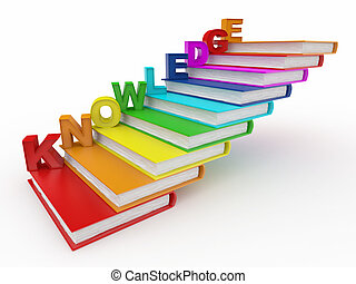 libros, palabra, conocimiento, escalera