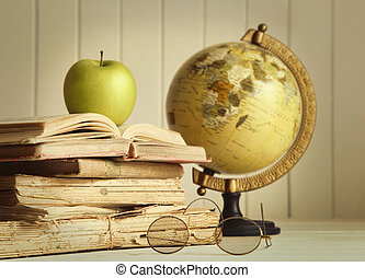 libros, viejo, manzana