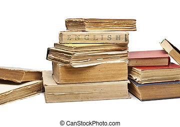 Libros viejos de antigüedades en blanco