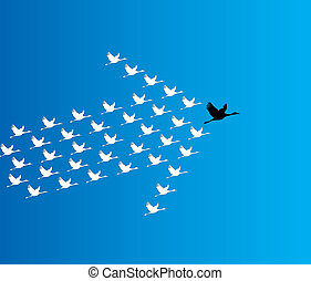 Liderazgo y Sinergia Concept Illustration: un número de cisnes volando contra un cielo azul profundo con un gran cisne líder oscuro