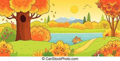 liebre, corriente, lindo, forest., otoño, por