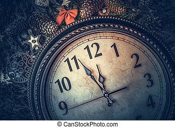 life., reloj, nuevo, exposiciones, viejo, midnight., todavía, año