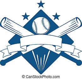 liga, campeonato, emblema, o, beisball