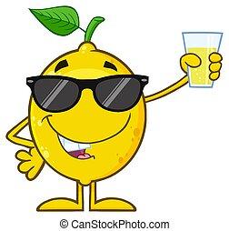 limón, fruta, presentación, carácter, tenencia, gafas de sol, fresco, amarillo, arriba, vidrio, caricatura, limonada, mascota, hoja verde