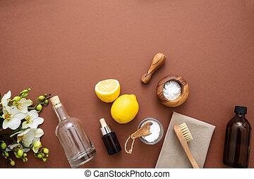 limón, productos, eco, limpieza, plano de fondo, soda, vinagre