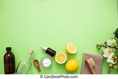 limón, productos, eco, vinagre, limpieza, plano de fondo, soda