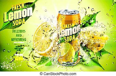 limón soda, fresco, anuncio