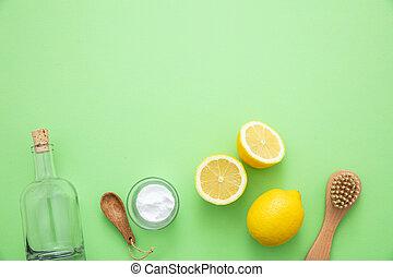 limón, vinagre, plano de fondo, eco, soda, productos, limpieza