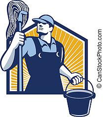 limpiador, friegue cubo, retro, tenencia, portero
