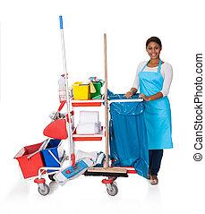 limpiador, limpieza, hembra, equipo