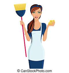 limpiador, mujer, joven