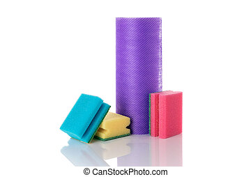 limpiador, sponge., amarillo, casa, fondo., limpio, esponja, espuma, service., suministros, cocina, white., aislado, equipo, plato