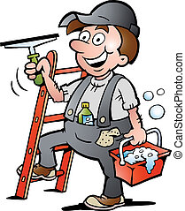 limpiador, ventana, ilustración