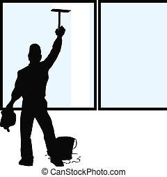 limpiador, ventana, silueta