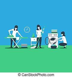 Limpiando servicios domésticos, planchando mujeres