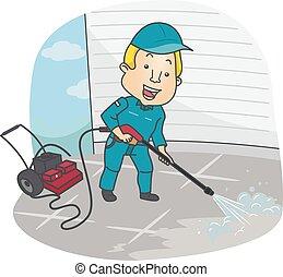 limpieza, hombre, arandela, presión